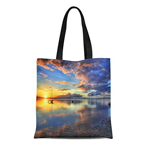 Tinmum Canvas Tote Bag Reusable Amazing Colorful Sunset Beach of Moorea French Polynesia Hdr Shoulder Grocery Shoulder Bag Handbag Printed