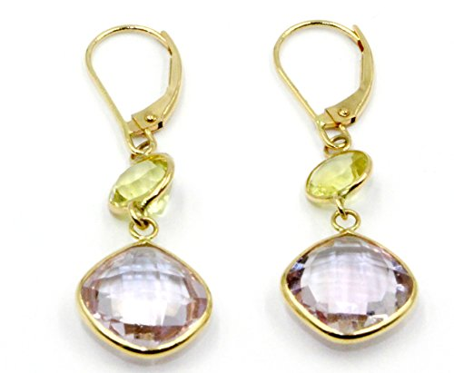 Pink Amethyst & Lemon Quartz Hanging Earrings,14K Yellow Gold Leverbacks