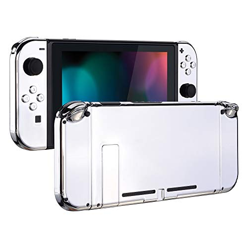 eXtremeRate Back Plate for Nintendo Switch Console, NS Joycon Handheld Controller Housing with Full Set Buttons, DIY Replacement Shell for Nintendo Switch - Chrome Silver