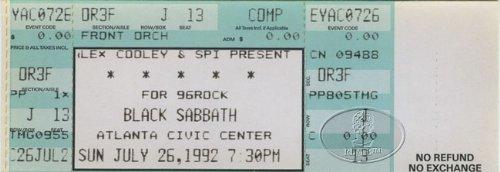 BLACK SABBATH & DANZIG 1992 Unused Concert Ticket
