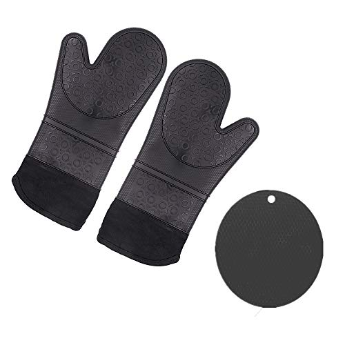 (Choppie Oven Mitts, Heat Resistant Silicone Pot Holders and Oven Mitts, Extra Long Oven Gloves and Potholders Set, Non Slip Texture Round Pot Holders and Baking Gloves with Liner, Hot Pads for Kitchen)