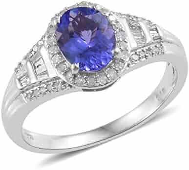Jewelry & Watches Fine Rings Silver Platinum Plated Tanzanite Champagne Diamond Anniversary Ring Gift