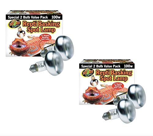- Zoo Med Repti Basking Spot Bulb 100w - 4 Bulbs Total (2 Pack with 2 Bulbs per Pack)