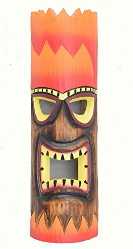 Máscara de pared Tiki FUEGO PELO 50cm IM HAWÁI look Máscara de madera HAWÁI Maui Máscara