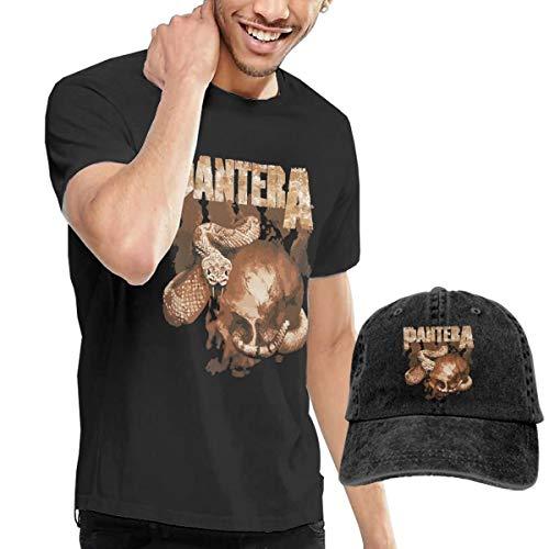 - LixuA Adult Pantera Rattler Skull Short Sleeve T-Shirt and Hat Costume Set Black
