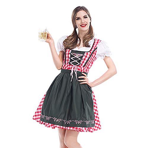 Charming House German Oktoberfest Costume Beer Girl Drindl Dress Halloween Cosplay Costume (Green/Red,X-Large)