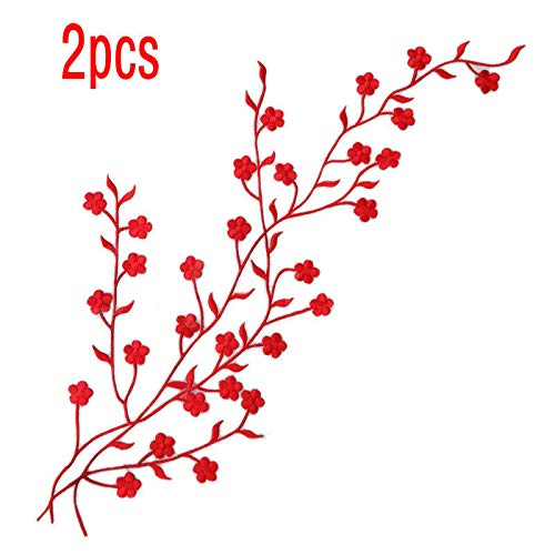 (2 Pcs Red Flower Applique Big Golden Leaf Vines Embroidery Iron On Patches)