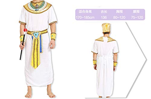 Halloween Party Clothes Egyptian Queen Prince Princess King Clothing Costume Set,Adult Men,One -