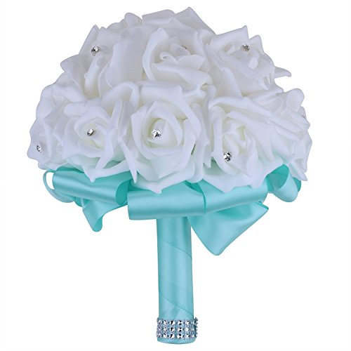 Crystal Roses Pearl Bridal Bridesmaid Wedding Bouquet wit...