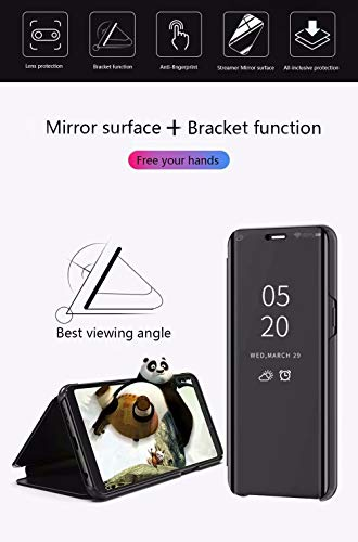 FanTing Case for Samsung Galaxy M31,Mirrored flip smart translucent case with automatic switch for Samsung Galaxy M31-Black