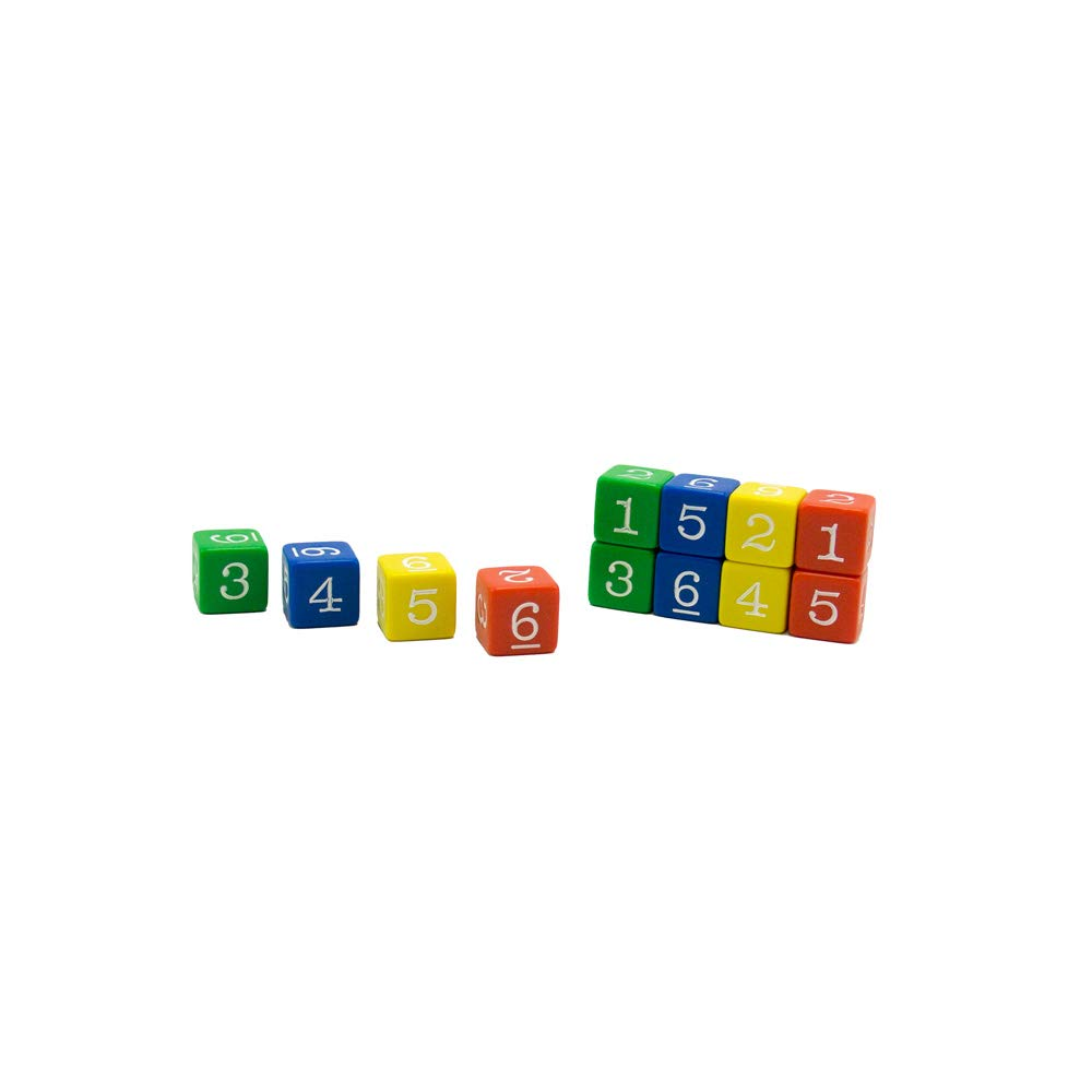 hand2mind Plastic 3/4-inch Color Number Dice (Set of 12) by hand2mind