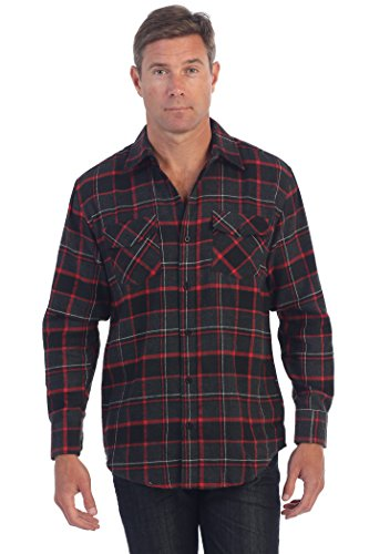 Checkered Brushed Flannel Shirt, Charcoal Red, Size Large ()