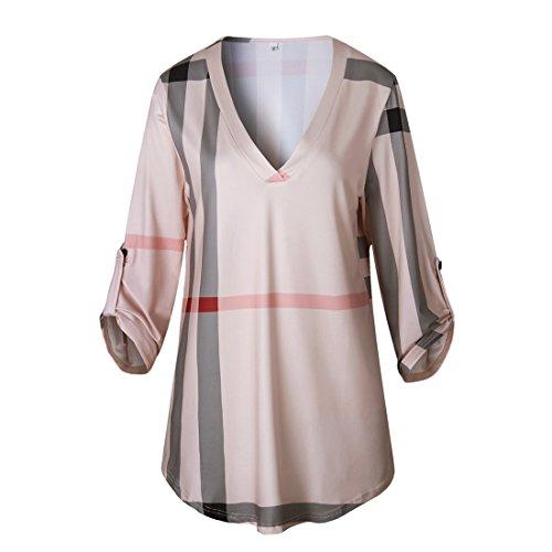 Chemise Shirt Tops Rose Irrgulire Col Longues Hauts Freestyle Manches V Elgant Slim Femme Printemps Tunique Loisir T Automne et a6nCcq