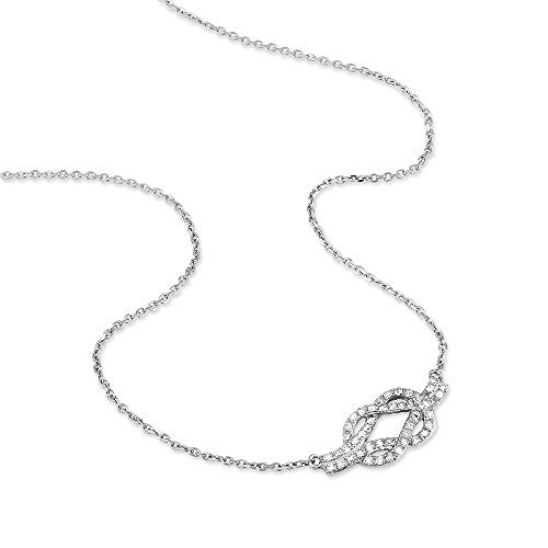 HISTOIRE D'OR - Collier Or Blanc Noeud Marin Diamants - Femme - Or blanc 375/1000