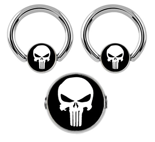 Nipple Captive Logo (Pair of Black Punisher Skull logo Captive bead Ring lip, belly, nipple, cartilage, tragus, septum, earring body Jewelry piercing hoop - 14 gauge, 1/2