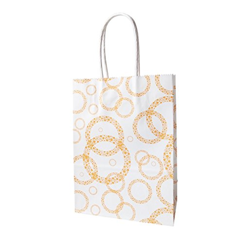 Dayhop 50 Pcs/Lot 16X22cm Colorful Dots Paper Gift Bags With Handles For Shops Baby Shower Party Halloween Christmas Wedding Decoration Orange ()