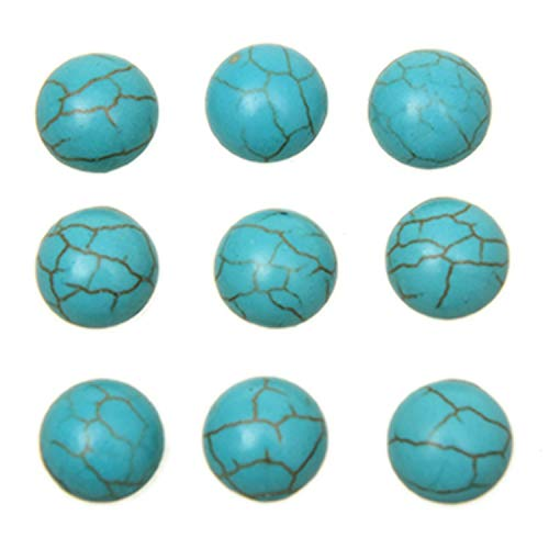 Pomeat 50 Pieces 8mm Natural Round Semi-Precious, Cabochons No Holes Flatbacks Turquoise Gemstone Dome Cameos for Necklace Jewelry ()