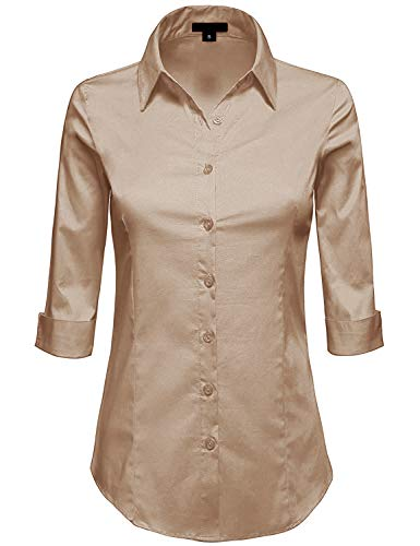 MAYSIX APPAREL 3/4 Sleeve Stretchy Button Down Collar Office Formal Shirt Blouse for Women Khaki S ()