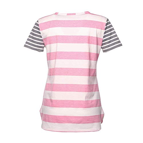 lgant V Rayures Chemisiers Shirts Loisir Fille Tops T Rose Courtes Casual Cou Et Basic Baggy Manches Costume Femme Chic Mode Shirt qvwgBxqZ