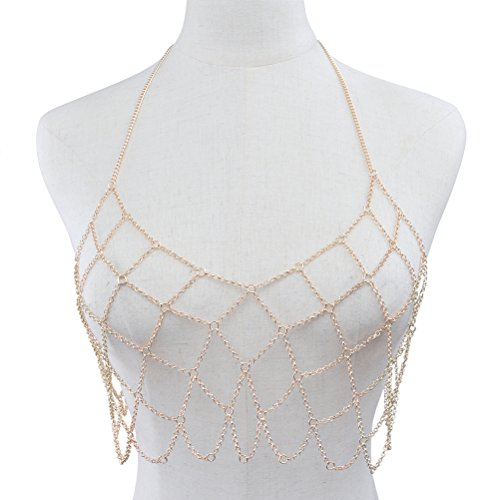 BESTOYARD Women's Sexy Geometric Halter Neck Body Mesh Chain Bikini Bra Chian for Dress Decoration (Gold) ()