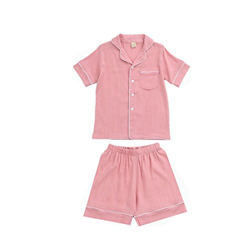 PAUBOLI Short Sleeve Pajama Set Cotton Slub Button Down Pajamas Top + Boxer Short for Kids 2-14 Years (7-8 Years, Pink) by PAUBOLI