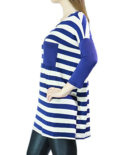 Womens Fashion Loose Oversize Fit Striped Top 3/4 Sleeve With Patch Pocket (SMALL, BLUE/WHITE)