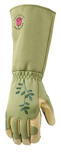 Wells Lamont 4127M Women's RoseTender Grain Leather Palm Gloves with Gauntlet Cuff, Medium (Work Gauntlet Gloves)