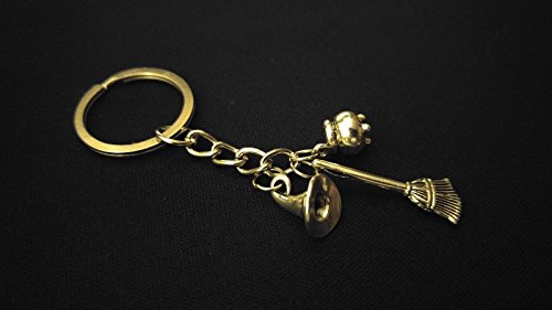 WITCH HAT BROOM CAULDRON GOTHIC HOLIDAY Silver Metal Charm Keychain Unique Gift