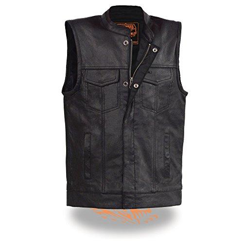 Milwaukee Leather Boy's Youth Size Open Neck Snap/Zip FRNT Club Style Vst-BLACK-26 (Black, 26