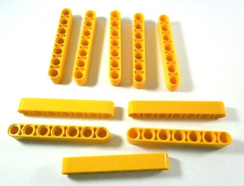 10 Stück LEGO TECHNIC 'Liftarm 1x7 Noppen' in Gelb. LEGO®