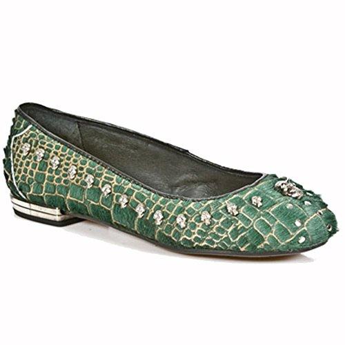 Nuova Gonna Bailarinas Da Donna In Pelle Scarpe Verdi M.bl006-r3 Verde Verde