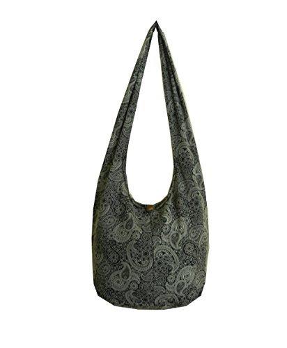 BTP! Thai Cotton Hippie Hobo Sling Crossbody Bag Messenger Purse Paisley Print Large (Black - Bags Large Fabric Bags