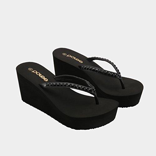 en Mode EVA Talons À Caoutchouc De Semelle Chaussures Sandales Talon Été D'épaisseur Épais Femme Pente Pantoufles Hauts Noir Strass Clip Toe 76wqdFx