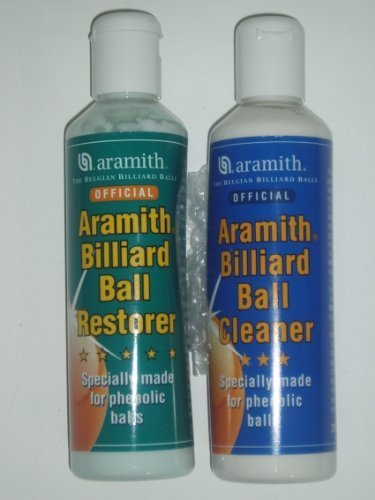 Aramith Phenolic Billiard Ball Care Cue Ball Cleaner and Restorer for Cleaning Restoring Polishing and Caring for Pool Balls (Cleaner and Restorer Set)