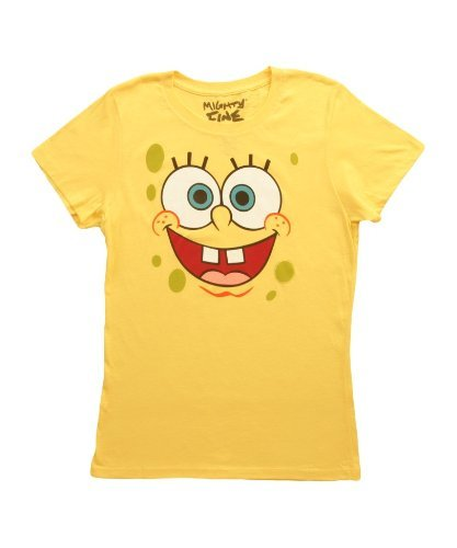 SpongeBob SquarePants Basic Bob Face Yellow Juniors T-shirt Tee (Juniors Small) (Spongebob For Women Tshirt)