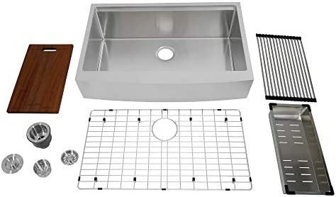 Auric 33-inch Retro-fit Curved Apron-front Workstation Farmhouse Kitchen Sink 16 Gauge Stainless Steel Short Apron Single Bowl – SCAL-16-33-retro SGL COMBO