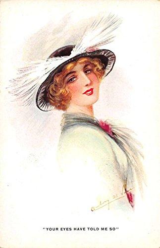 Lady Black Hat White Feathers Artist Signed Antique Postcard J66863