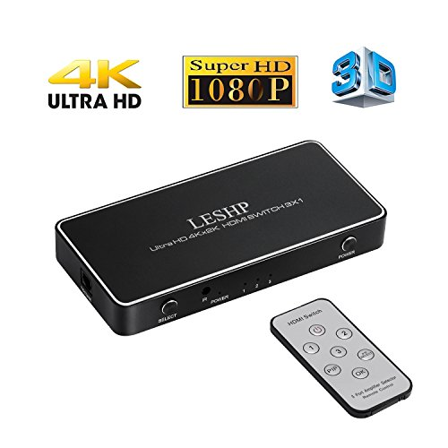 HDMI Switcher LESHP 4K x 2K 4 Port 3x 1 HDMI Switch with PIP and IR Wireless Remote Control, DC Power Adapter, Toshiba Link, Supports Ultra HD 4K 3D 1080P, HD DVD player, PS3, XBOX, set-top boxes etc