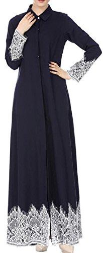 Cromoncent Stile Di Blu Musulmana Floreale Islamica Caftano Maxi Abito Pulsante Vestito Cardigan Donne Popolare gAxtwEdqg