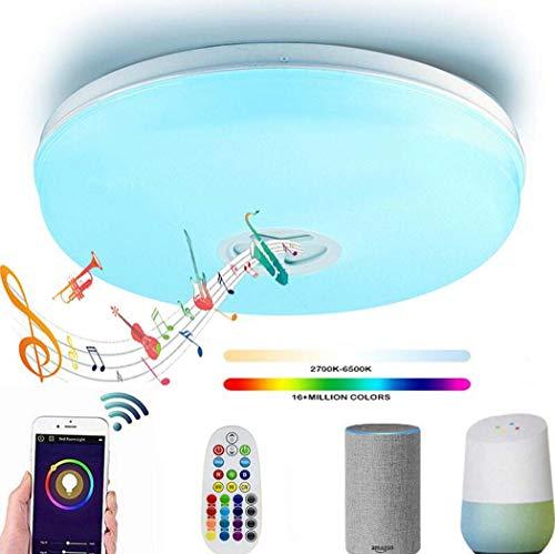 GAOLIQIN Luz de Techo LED con Altavoz Bluetooth, lámpara de Techo Inteligente WiFi inalámbrica de Ø40CM, 95V-265V, Stand...
