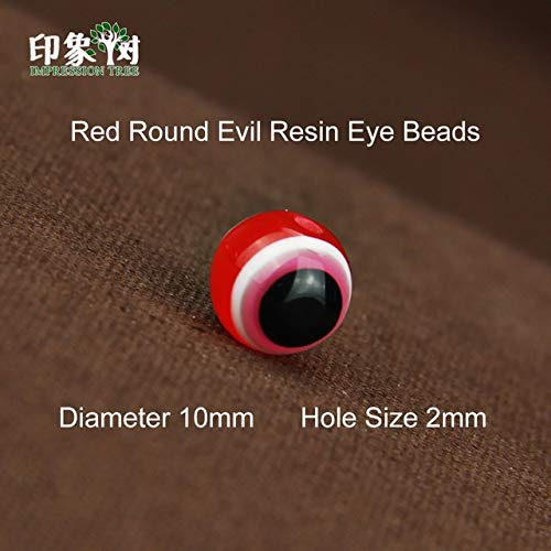 - Laliva Accessories - 50PCS 10mm Round Evil Resin Eye Beads Stripe Spacer Mixed Colorful Beads DIY Jewelry Makings Necklace Bracelet Children 2534 - (Color: 2534-Red-50Pcs)