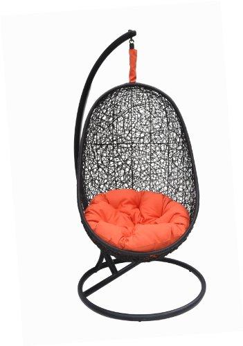 Belina – Black Synthetic Wicker Porch Swing Chair – Great Hammocks - Model – Y9037BK