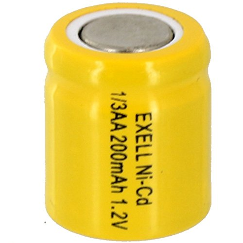 1/3AA 1.2V 170mAh NiCD Rechargeable Flat Top Assembly Cell Battery for medical instruments/equipment, electric razors, toothbrushes, radio controlled devices, electric tools ()