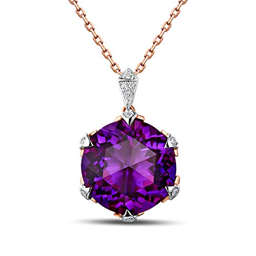 Caimao Jewelry 6.93ct Natural Amethyst Full Cut Diamond 18K White and Rose Gold Pendant ()