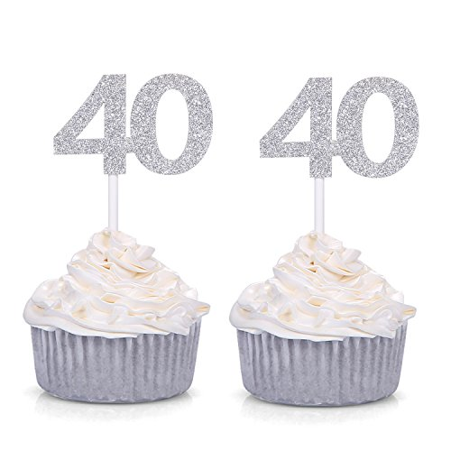Giuffi Set of 24 Silver Glitter Number 40 Cupcake Toppers 40th Birthday Celebrating Decors