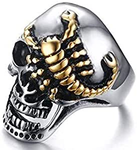 Scorpio skull ring for men Silver and gold Size 12