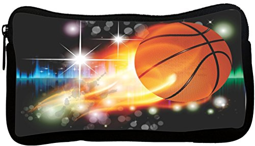 Rikki Knight Glowing Lighted Basketball Design Neoprene Pencil Case (pc1024) by Rikki Knight