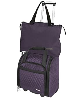 Travelon Wheeled Underseat Carry-on With Back-up Bag, Quilted Microfiber, Eggplant, One Size 1