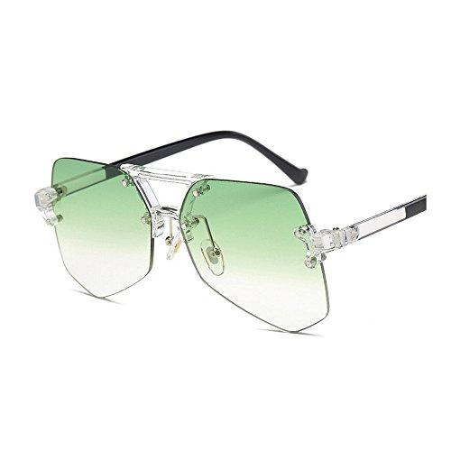 tamaño hombres la sol colorida Irregular sol gafas gafas hombre sin viaje Ultra de mujeres gran ligero de protección conducción Unisex para Personalidad de transparente para claro marco UV Verde para de de p6T7nq