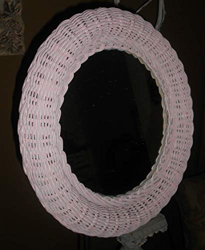 Upcycled, Vintage, Round Wall Wicker Mirror, Shabby Chic Pink, Hand Painted, Nursery Rooms, Girl